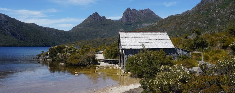 Dove Lake, with fishing hut and Cradle Mountain