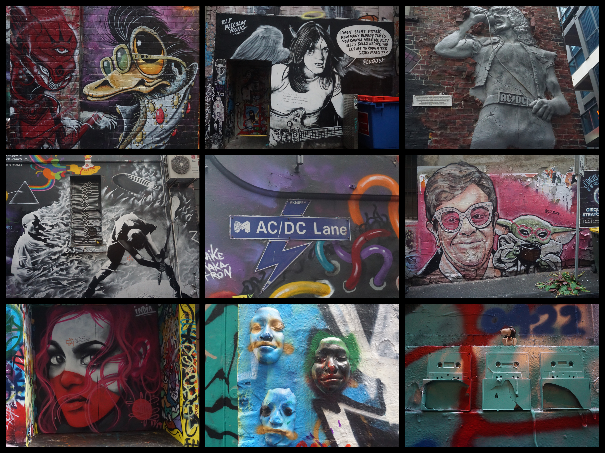 Street art in the various lanes of Melbourne